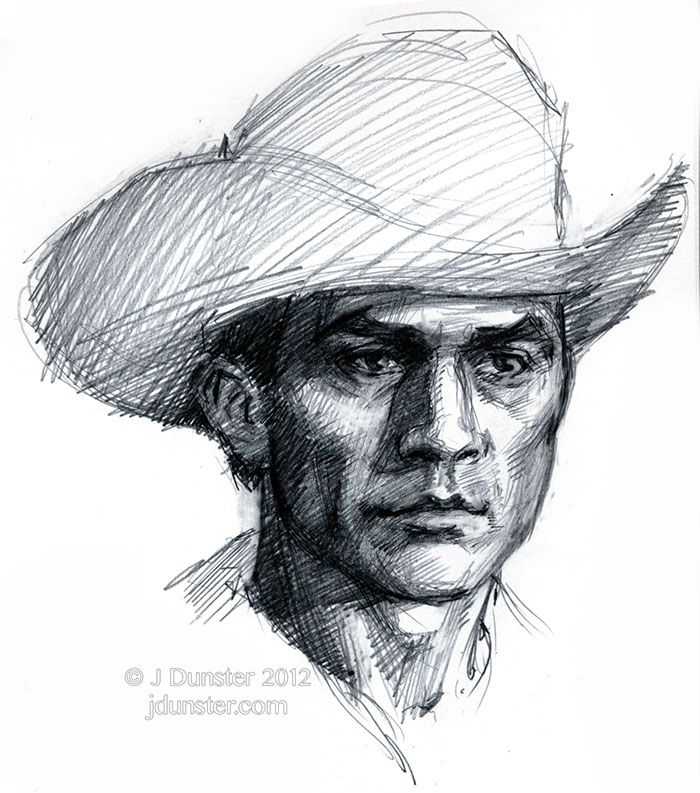 a cowboy drawing from my sketchbook i was watching a tv show where this guy had this great black cowboy hat and so i tried to draw it the hat