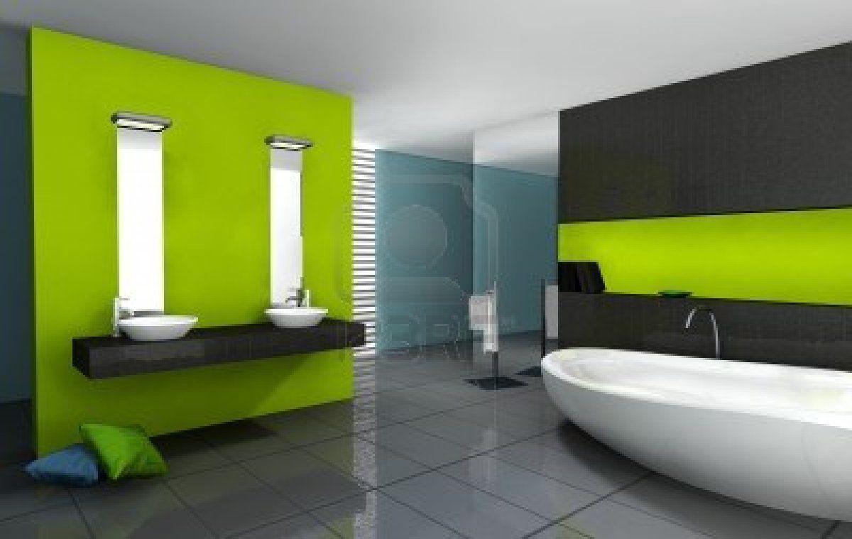 Salle de bains avec un design moderne et contemporain et le mobilier ...