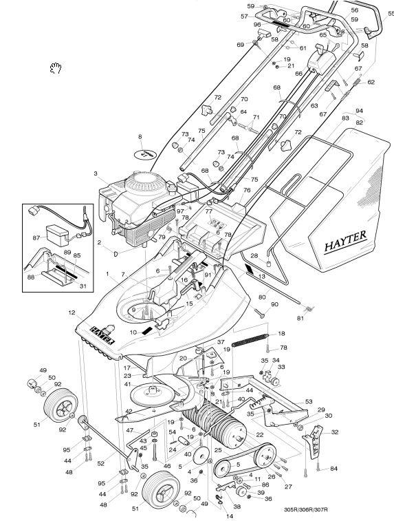 Hayter Harrier 41 - 305P001001 Spare Parts Machine diagrams Schematics Shoulders of shoreham www.shouldersofshoreham.co.uk