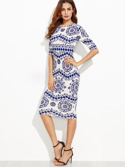dfdbf10f1e Shop Blue And White Porcelain Print Pencil Dress online. SheIn offers Blue  And White Porcelain Print Pencil Dress   more to fit your fashionable needs.