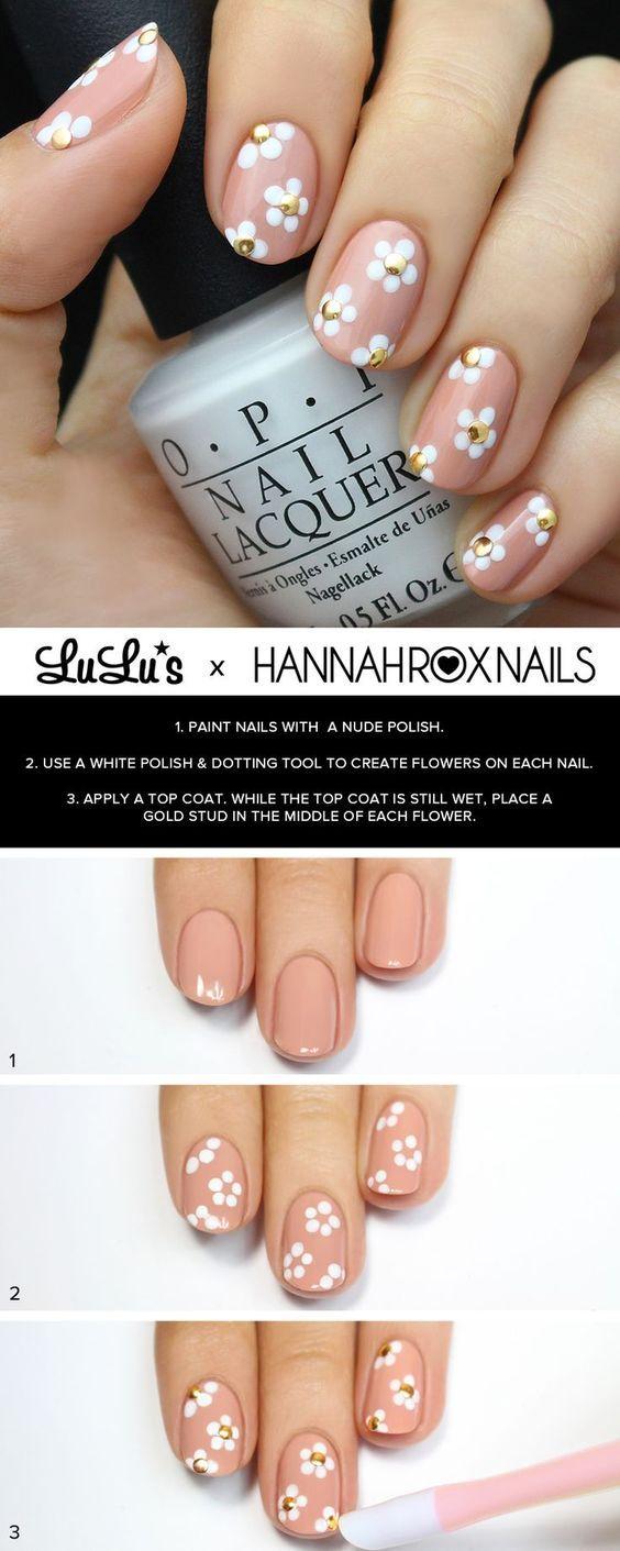 15 Tutoriales Fáciles de Decoración de Uñas con Flores - Manicure ...