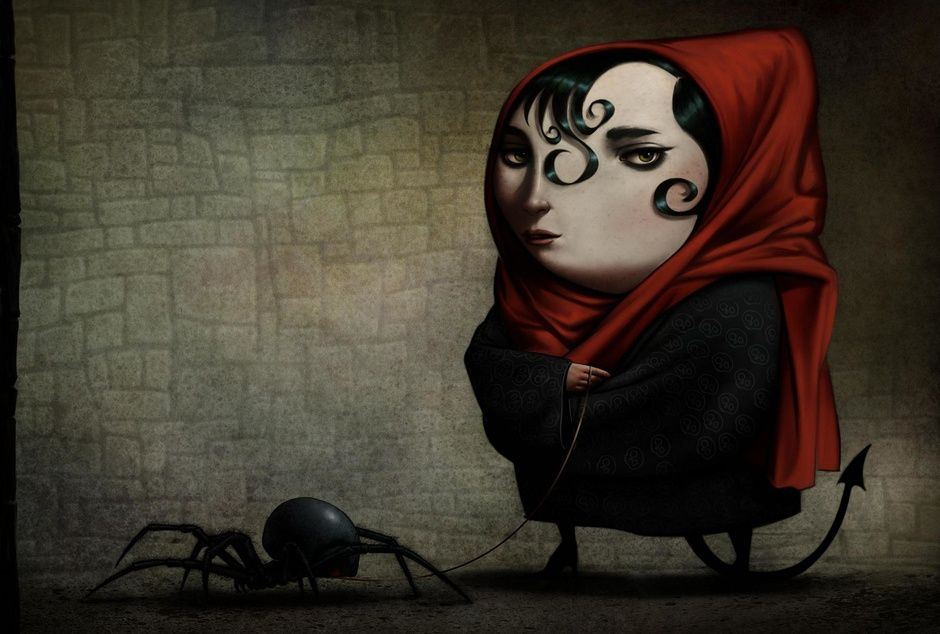 Girl Walking Her Pet Spider by Don Seegmiller | Illustration | 2D | CGSociety