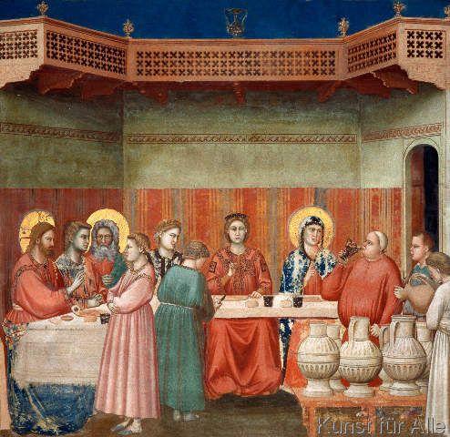 Di Bondone Die Hochzeit Zu Kana Kunstdruck Leinwandbild Gerahmtes Bild Giotto Kunstproduktion Renaissance Kunst