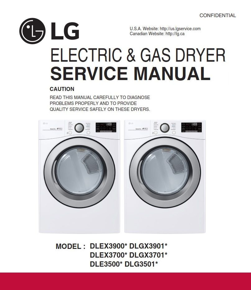 Lg Dle3500 Dle3500w Dryer Service Manual And Repair Guide Appliance Repair Shop Repair Guide Manual