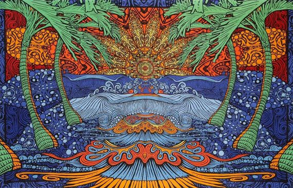 Psychedelic Epic Surf Wave Trippy Wall Hanging By