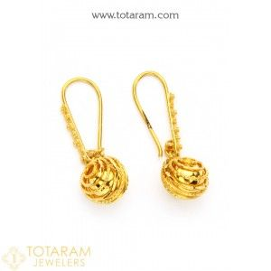 Gold Hoop Earrings Small In 22k Indian Jewelry From Totaram Jewelers Online