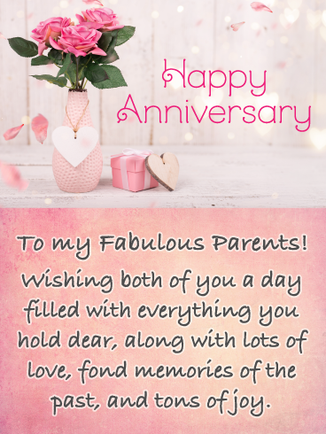 Fond Memories Happy Anniversary Card For Parents Birthday Greeting Cards By Davia Happy Anniversary Cards Anniversary Card For Parents Anniversary Wishes For Parents