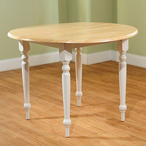 Delicieux Cottage Style 40 Inch Diameter Round Dining Table With Double Drop Leaf    Constructed From Solid Rubberwood   Beige Finished Tabletop And White  Turned Legs ...