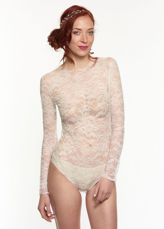 Accessoire pour robe de mariée. Body ras-du-cou en dentelle stretch de  Calais. Tient parfaitement dans une robe bustier. Manches longues.  BODY1A-405€ 01dd9260793