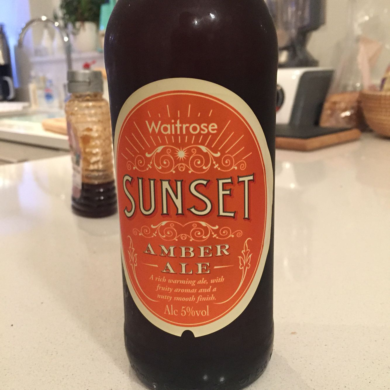 371 Waitrose Sunset Full Fruity Malty Winter Warmer 4 5 16 02 2016 British Beer Soy Sauce Bottle Waitrose