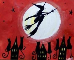 FOLK ART FLYING WITCHES MOON PAINTED NEEDLEPOINT CANVAS