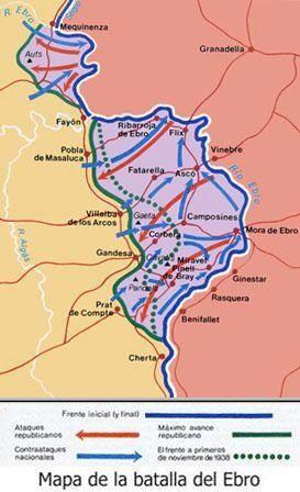 Desarrollo De La Batalla Del Ebro 25 De Julio 16 De Noviembre 1938 Wwii Maps Spanish History