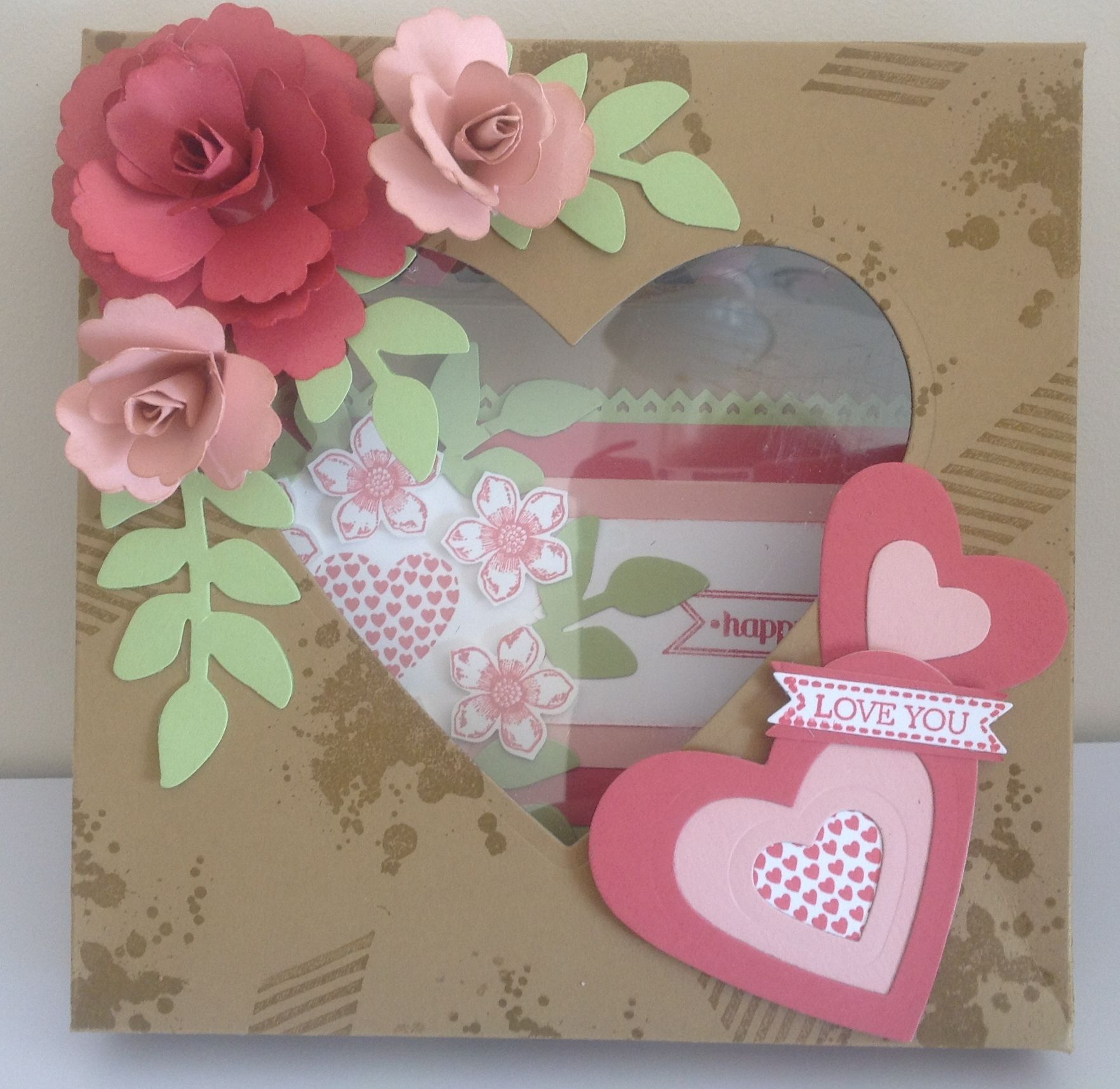 I used the heart die, blossom punch and the gorgeous grunge stampset