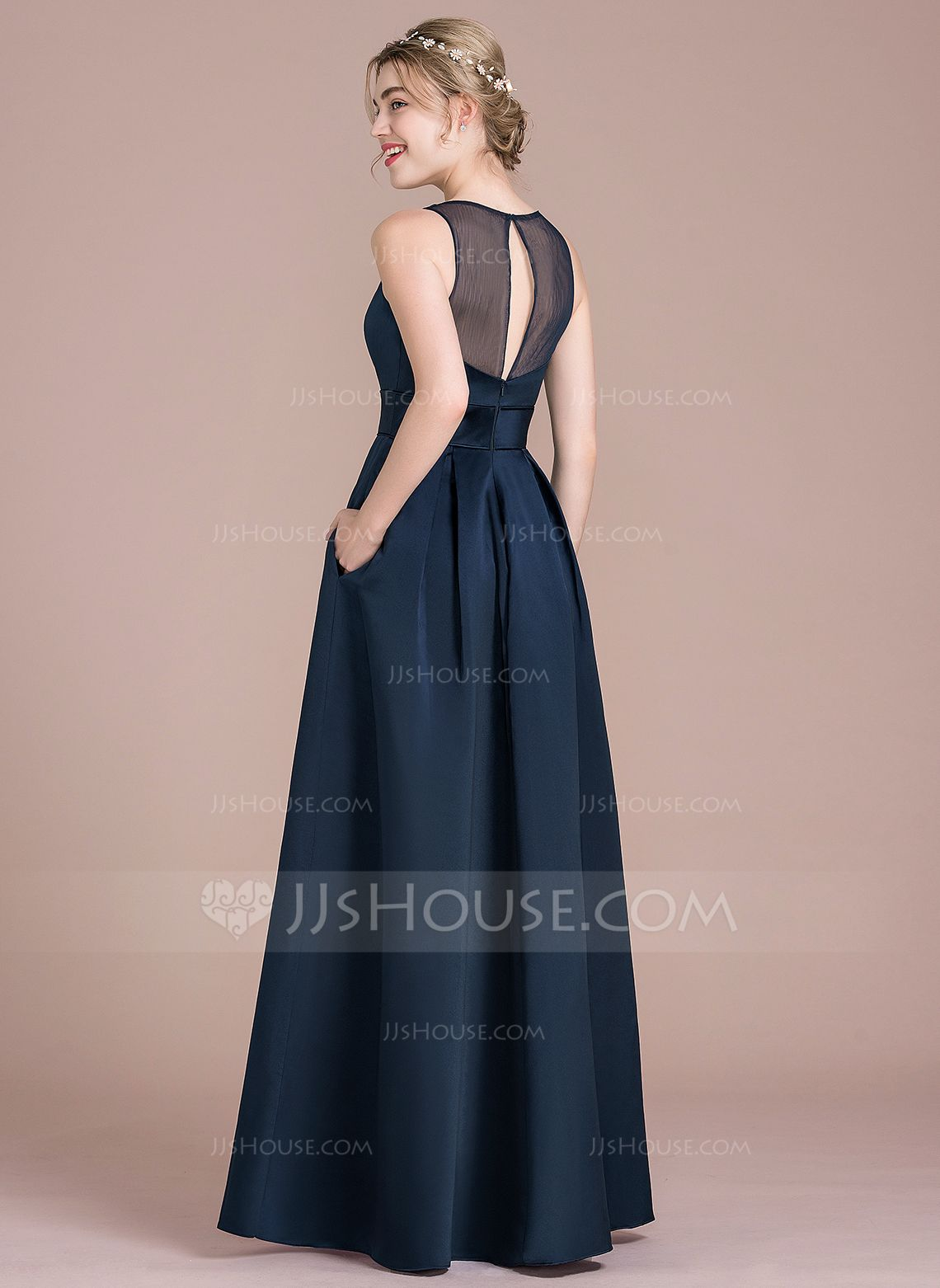 e589d2dc3c2 A-Line Princess Scoop Neck Floor-Length Satin Bridesmaid Dress With ...