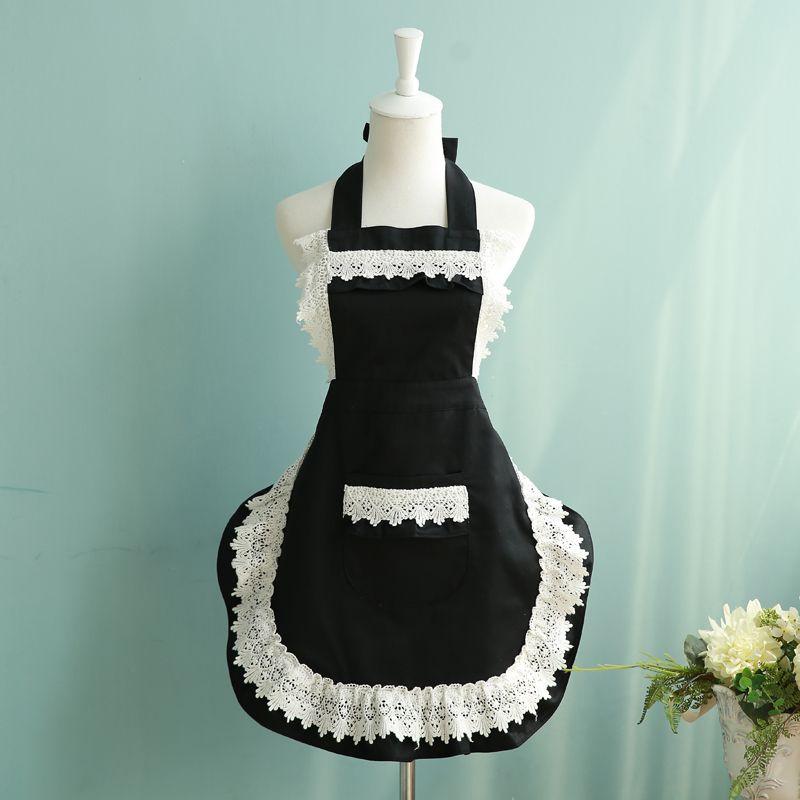 French Style Maid Apron Black/white Lace Apron Fashion Women Kitchen Cooking Cafe Waiter Aprons Princess Bib With Pocket