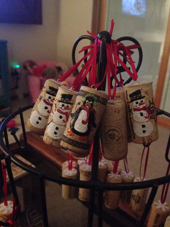 Holiday corks make great additions to any gift as a gift tag, ornament, bottle decor....