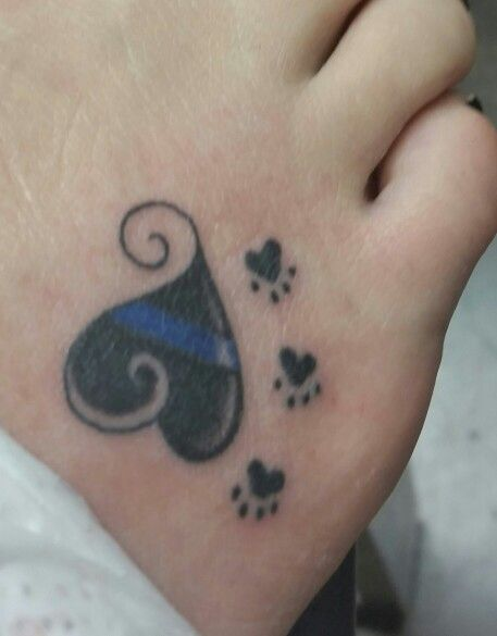 Blue Line Police Heart Foot Tattoo With Paws Love Mickey Mouse Tattoos Mouse Tattoos Heart Foot Tattoos