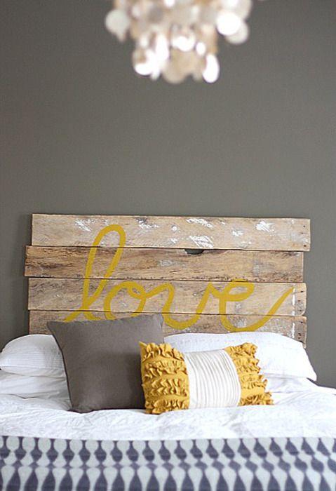 yellow antique headboard wood board words love pillows toss pillows - Hausgemachte Kopfteile Fr Betten