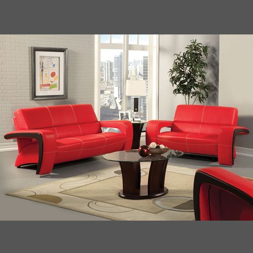 The Futuristic Enez Red Black Sofa Loveseat Husker Interiors