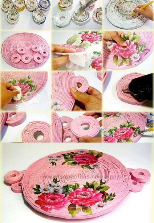 Tags mais populares para esta imagem incluem: diy rolled paper tray, diy, handmade, diy projects e diy craft