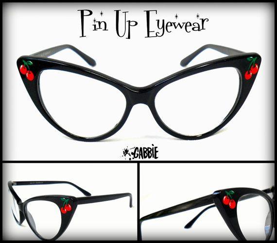 5b05e5df8b Pin Up Eyewear (Cherries) - Vintage Retro Cat Eye Eyeglasses Frame - Custom  Painted - One of a kind!