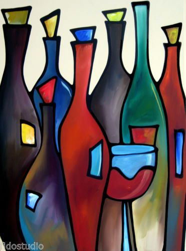669c6446f8e3 Open Bar Original Abstract Modern Wine Wall Art Huge Painting by FIDOSTUDIO