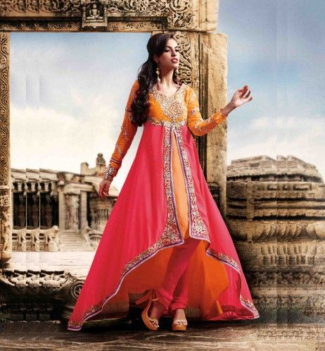 456bb84294 Fuchsia Pink and Orange Faux Georgette and Poly Shantoon Churidar Kameez  Online Shopping