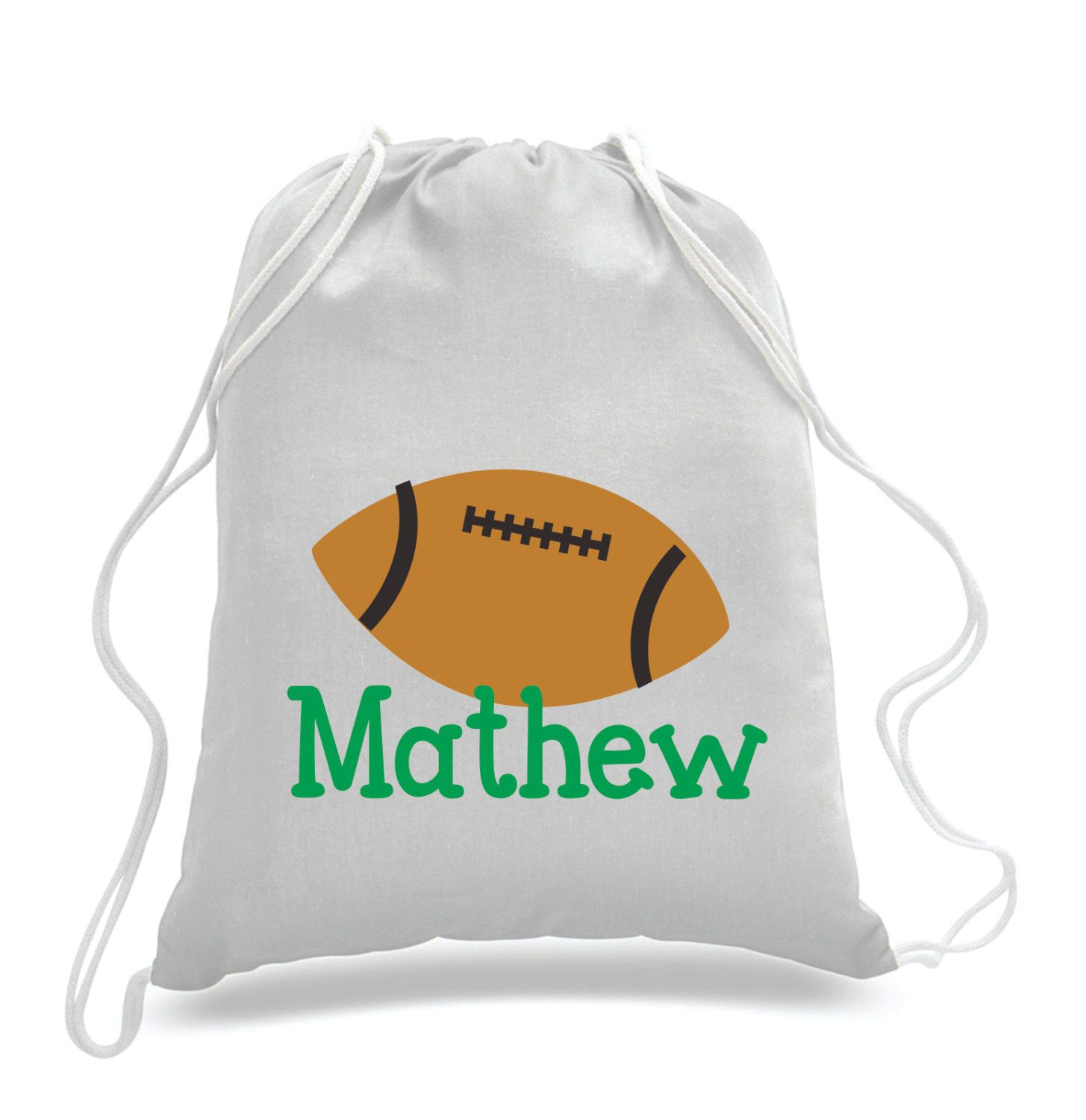 Personalized Football design- Kids drawstring bags, gym bags ...