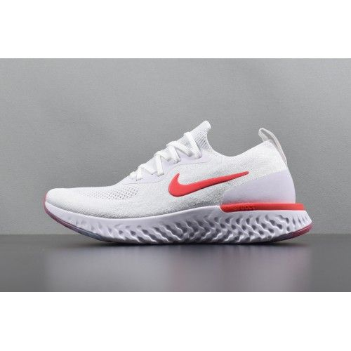 the latest f2e67 5777f Nuevo Hombre Nike Epic React Flyknit Blanco Rojo Zapatos para correr AQ0067  800 - Nike Epic