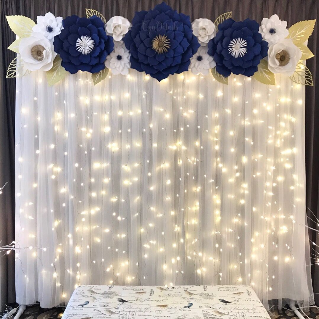 of  Navy Blue White and Gold Paper Flower Backdrop by