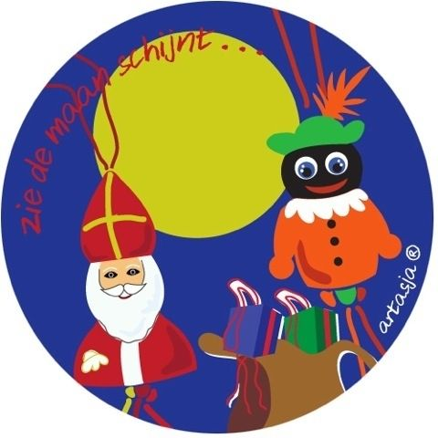 Ronde Sinterklaas sticker