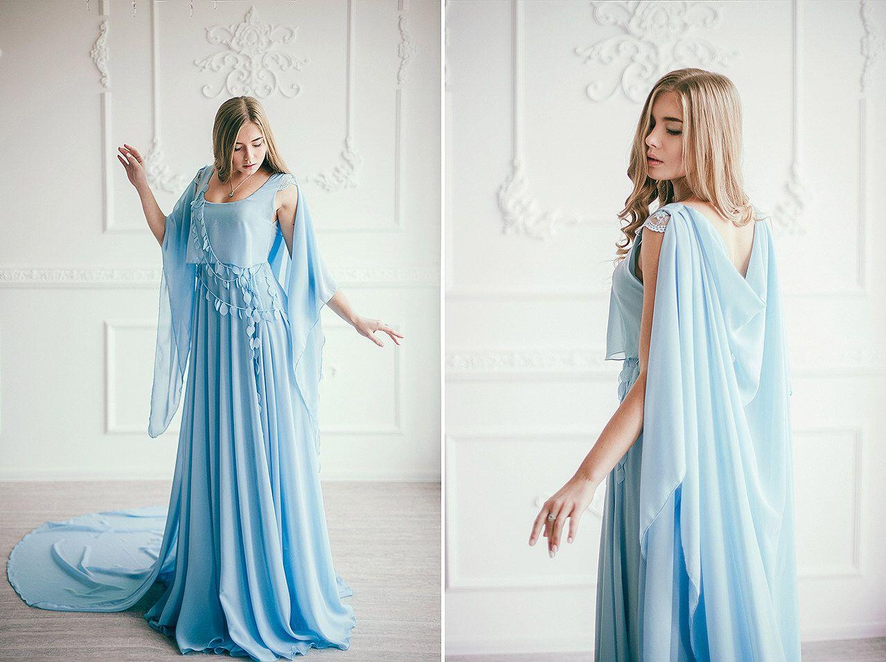 Blue cape wedding dress - Caped boho chiffon bridal gown - Non ...