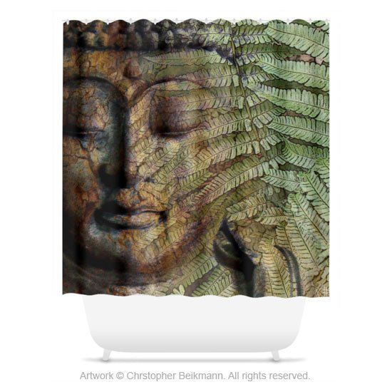 Green And Brown Fern Buddha Shower Curtain Convergence Of