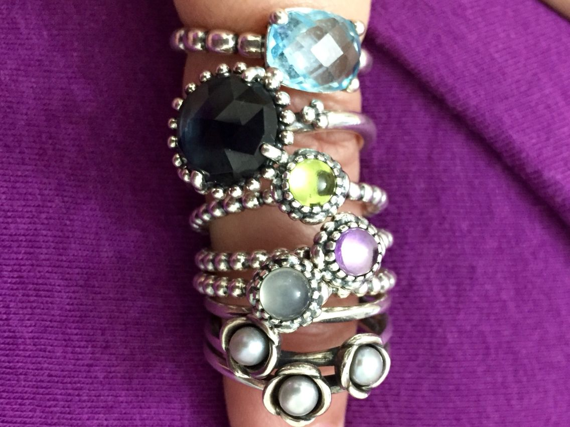 63a8203d4 Rings with stones- Pandora Triple Bloom Grey Pearl (retired); Birthday  Blooms in June (grey moonstone), February (amethyst), August (peridot);  Midnight Star ...