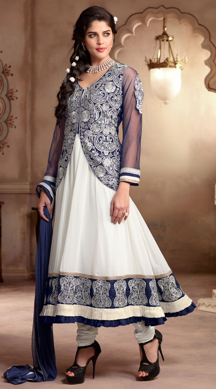 Trendy white georgette long anarkali suit which is adorned with