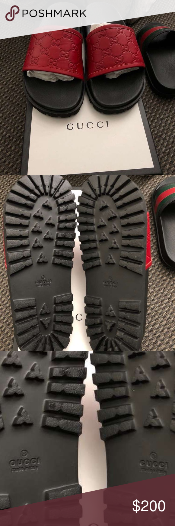 Authentic red leather Gucci slides Red