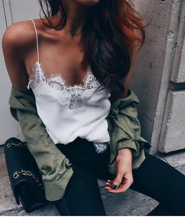 01275c3bd210a ... Tank Top Spaghetti Strap lace Patchwork bralette Camis Solid color  Chiffon camisole tops feminina. Army green shirt