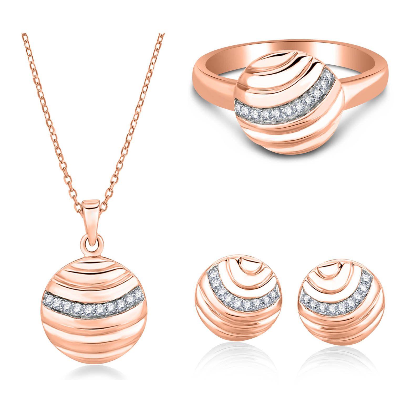ct natural diamond k rose gold jewelry set ring earrings