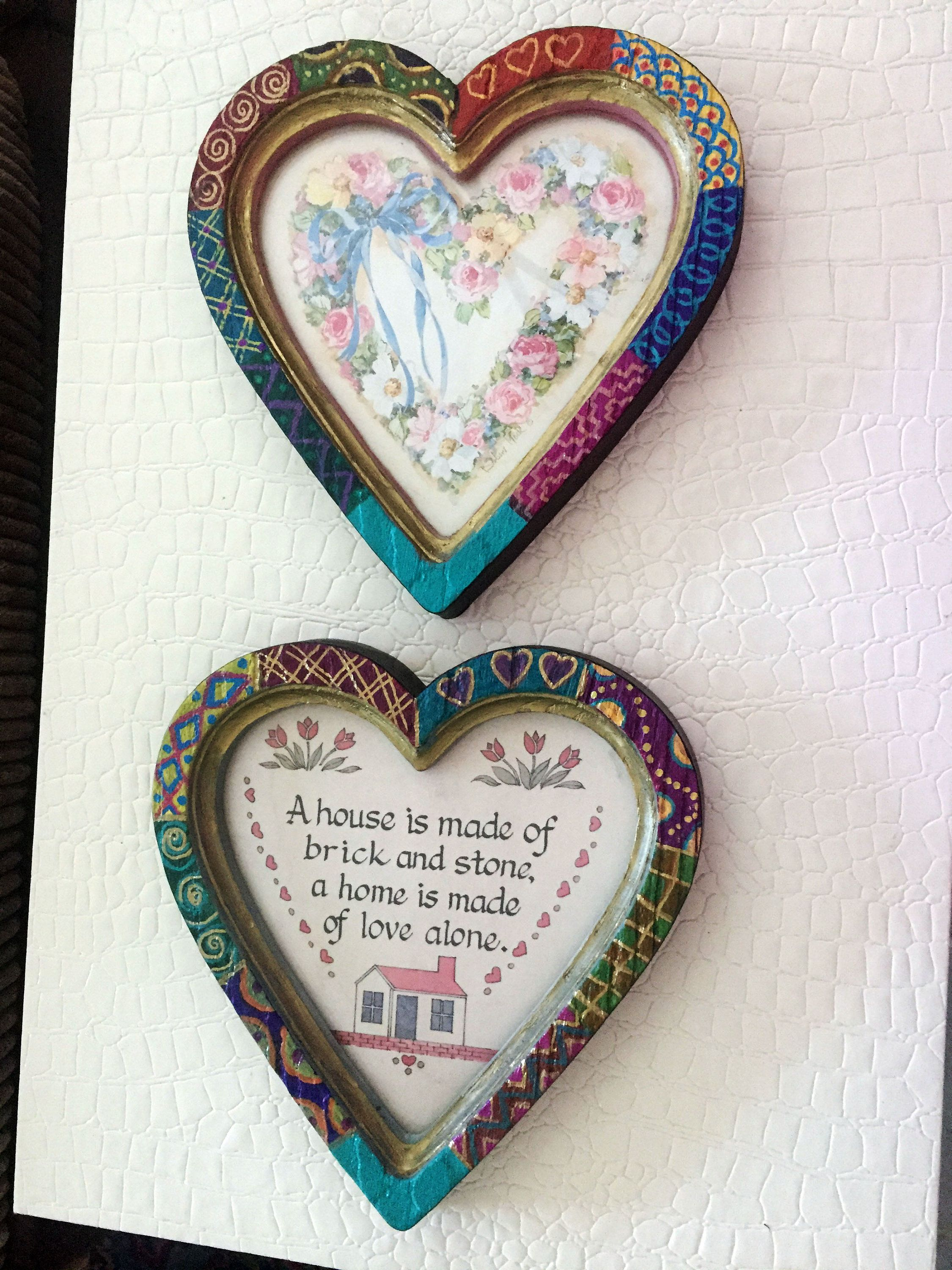 Hand Painted Bohemian Quilt Design Set Of Two Vintage Heart Pictures 8 Wx8 Hx1 D W0239 With Images Bohemian Quilt Hand Painted Vintage Heart