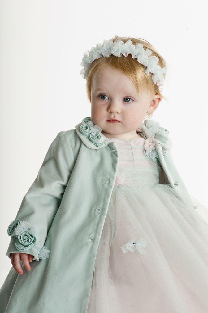 Baby Biscotti Infant / Toddler Girls Ice Princess Velveteen Dress Coat - Sea Foam Green