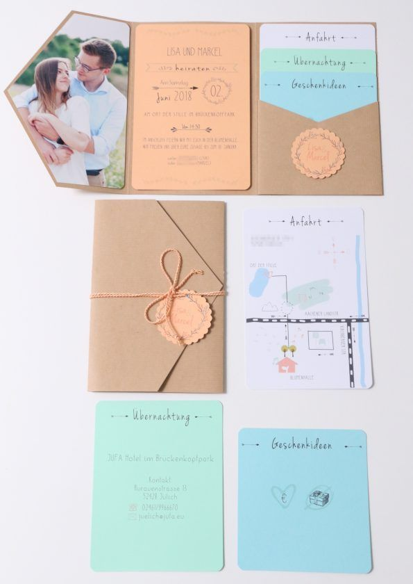 Photo of Einladungskarte Hochzeit selbst gemacht. Pastell, boho, klap…