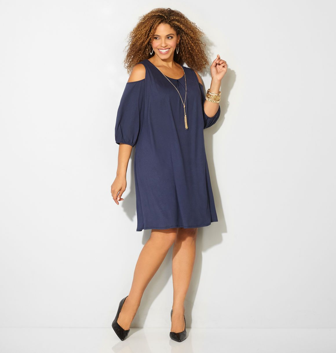 853327c2cdd Shop new necklace dresses with shoulder show like our plus size Cold  Shoulder Tassel Necklace Dress available in sizes 14-32 online at avenue .com.
