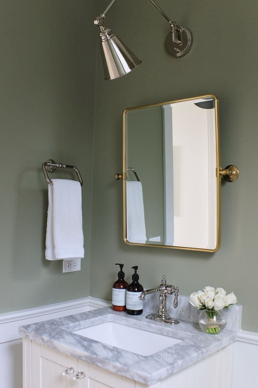 Our Powder Room Painting the Walls Sage Green 1000 in