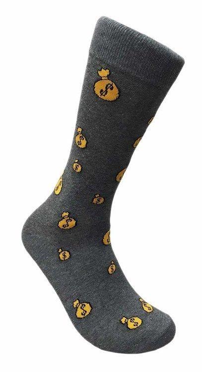 Money Bag Dollar Sign Loot Finefit Mens Fun Novelty Socks Dress Sox Sz  Cash Finefit Casual