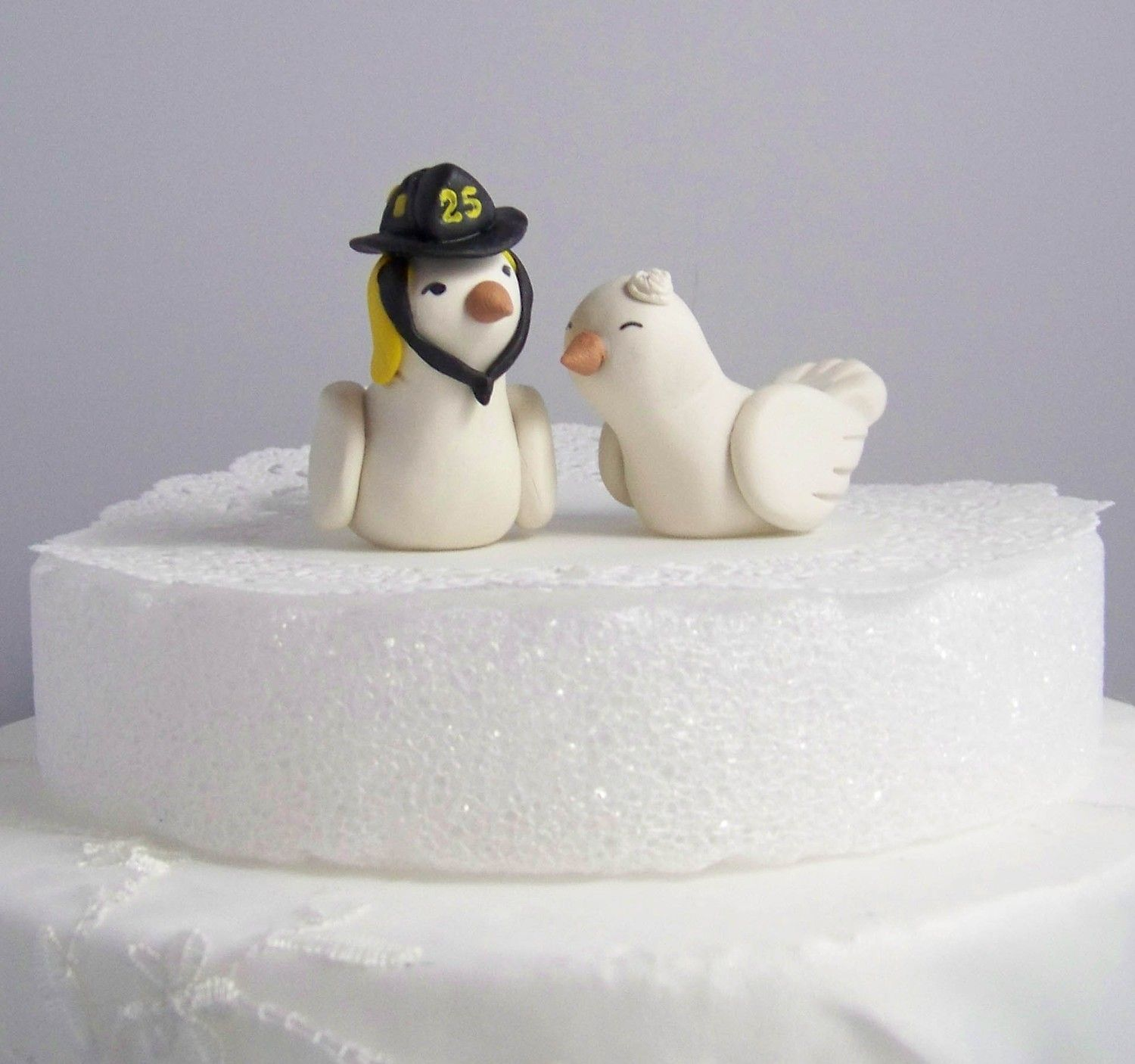Firefighter Wedding Cake Topper Love Birds Cake Topper- Custom Small ...