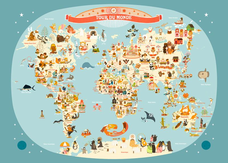 affiche carte du monde illustration pour enfants de julie mercier kid pinterest carte du. Black Bedroom Furniture Sets. Home Design Ideas