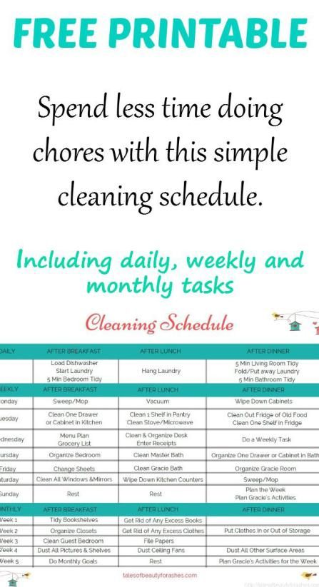 monthly chores