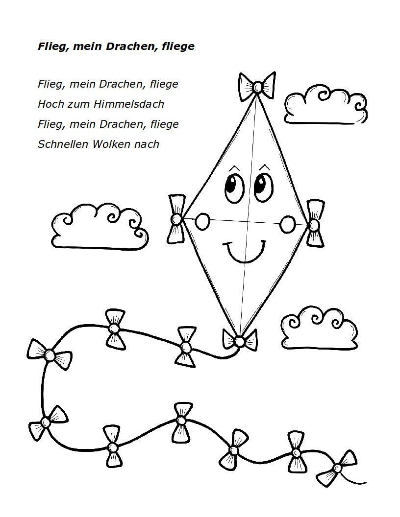 Flieg mein drachen arbeitsbl tter pinterest fliegen for Drachen basteln im kindergarten