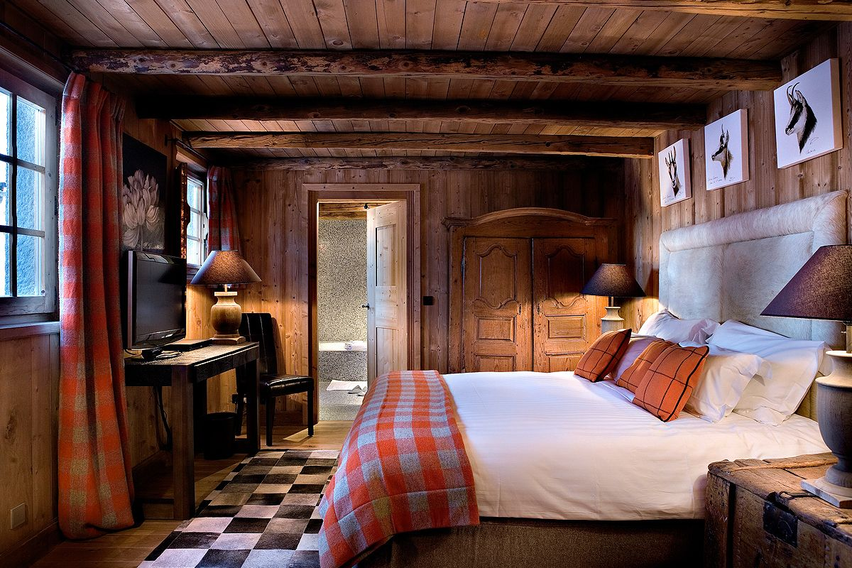 chambre inspiration chalet en lambris | Déco Chalet | Lodge Decor ...