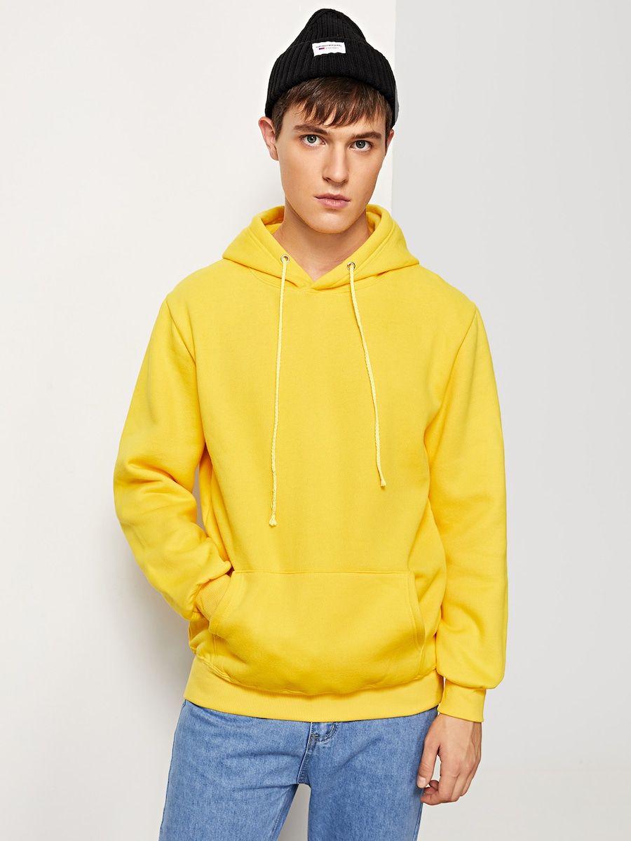 Men Solid Hooded Sweatshirt Shein Sheinside Hooded Sweatshirts Sweatshirts Mens Sweatshirts [ 1199 x 900 Pixel ]